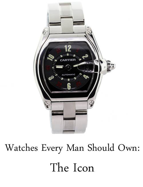 Watches Every Man Should Own, iconic watches, cartier roadster, black dial roadster