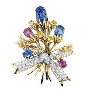 pink sapphires, blue sapphires, diamond, flower bouquet pin, vintage pin