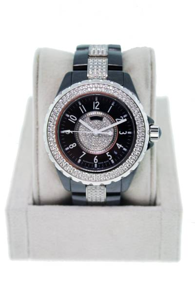 karl lagerfeld olympics line chanel j 12 h1709 ceramic and diamond pave men s watch