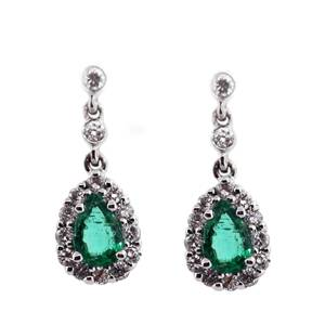 Pre-Owned Emerald and Diamond earrings, emerald earrings preowned boca