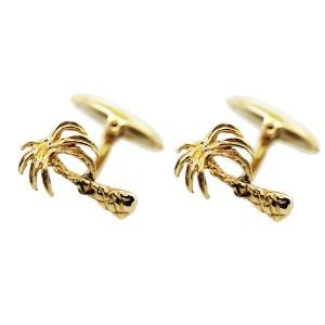 18K Yellow Gold Palm Tree Cufflinks, palm tree cuff links, palm tree jewelry boca