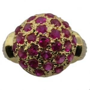 ruby and gold dome ring, ruby dome ring, vintage ruby ring