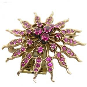 ruby and gold pin, starburst pin, vintage ruby jewelry, pink rubies