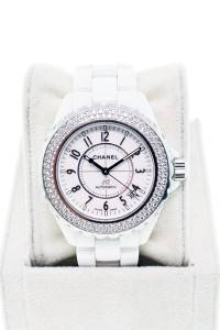 Chanel J-12 Ceramic with diamond bezel 38mm H0969, used chanel j12, sell chanel