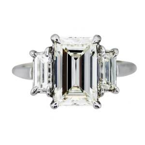 emerald cut diamond ring, emerald cut engagement ring, three stone emerald ring