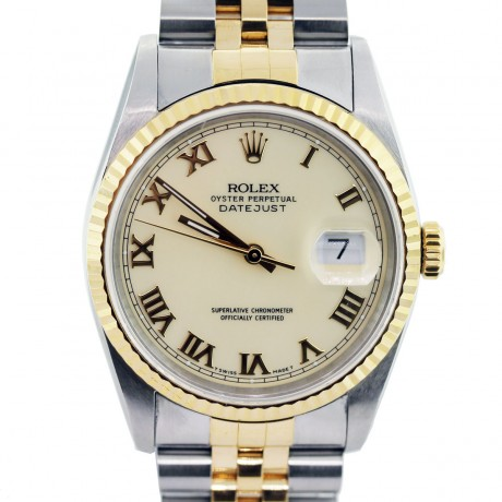 Rolex Datejust 16233 Two Tone Cream Dial Mens Watch