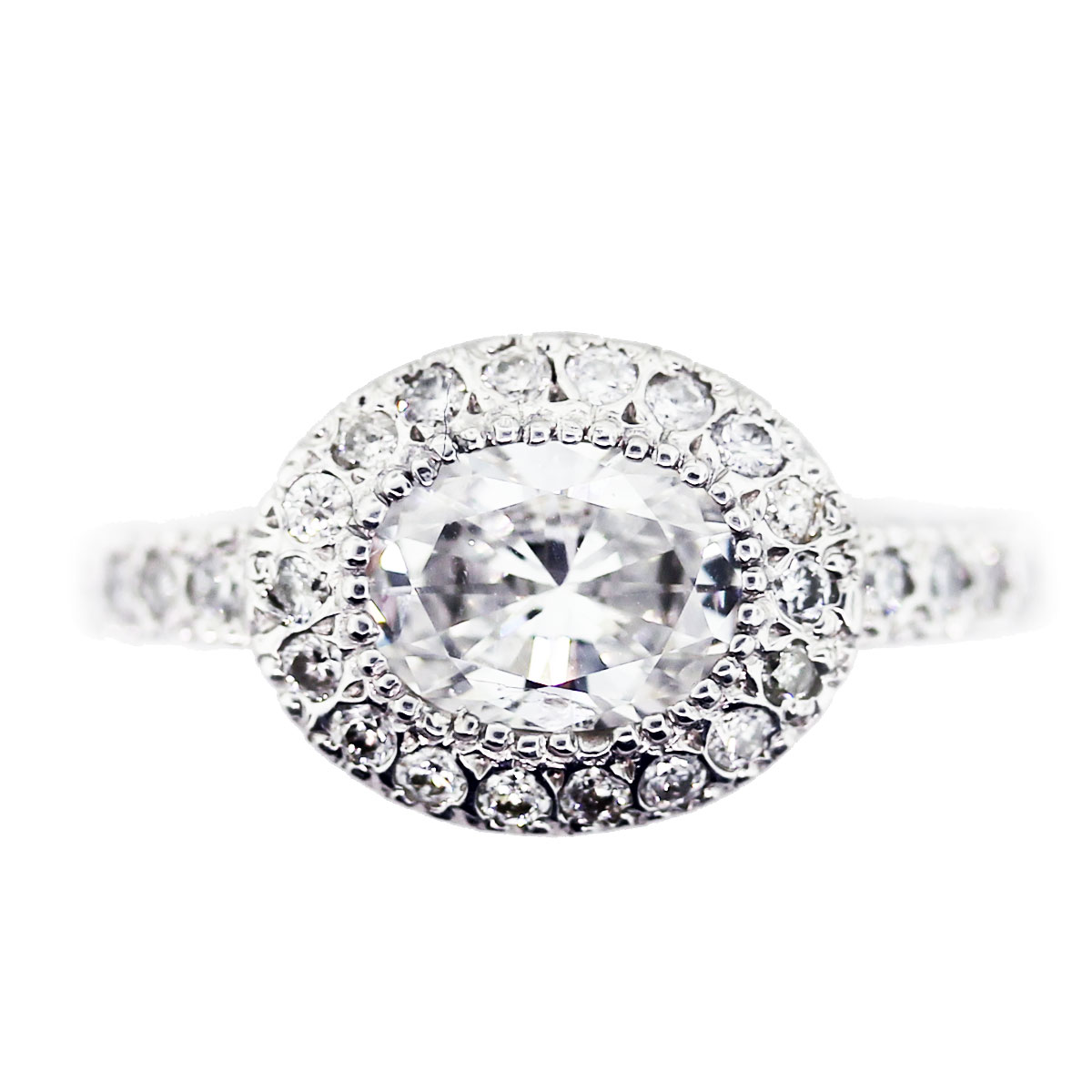 Preowned 1 Carat Oval Cut Diamond Halo Engagement Ring