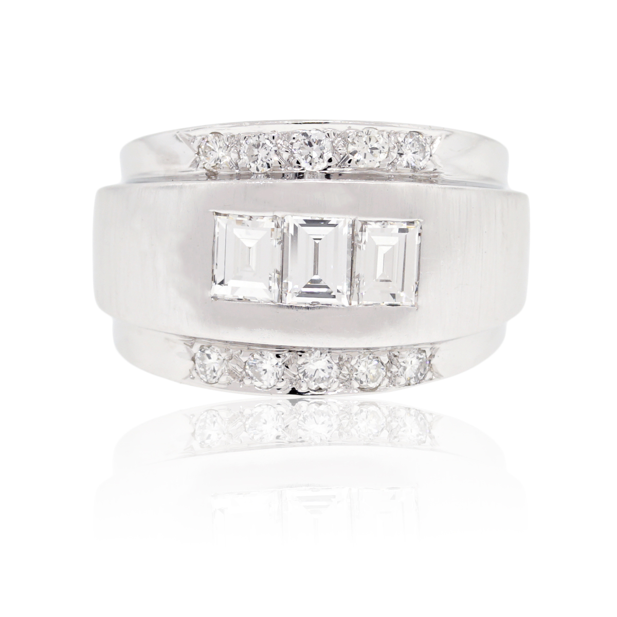 white gold and emerald cut mens ring raymond