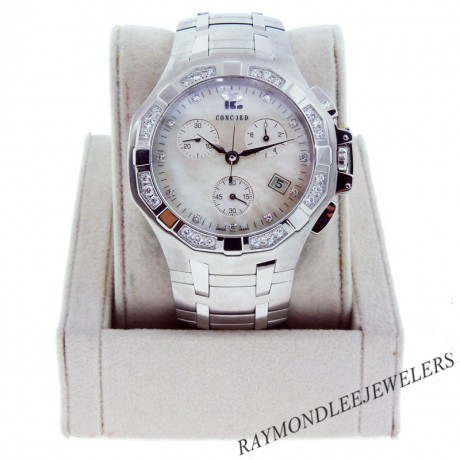 Used Concord Saratoga 0311157 Stainless Steel and Diamond Mens Watch