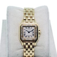 Cartier Panthere 18K Yellow Gold Watch with Diamonds