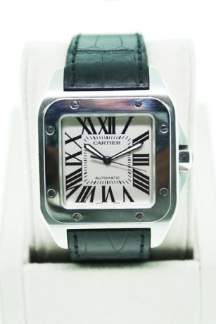 Pre-Owned Cartier Santos 100 on W20073X8 Mens Watch Black Leather