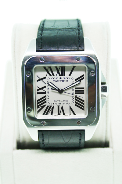 pre owned cartier santos 100 on w20073x8 mens black