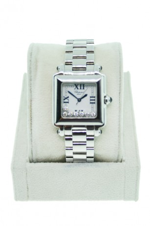 Chopard Happy Sport Square Stainless Steel 7 Diamond 27/8349-23