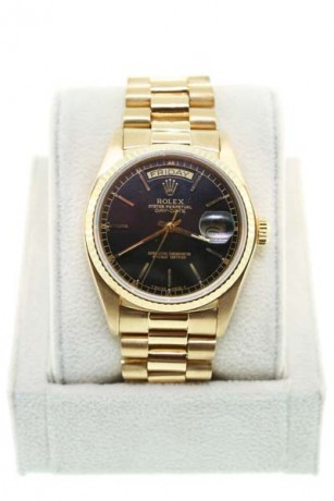 Rolex Day-Date Gold 18038 Single Quickset Black Dial Gents Watch