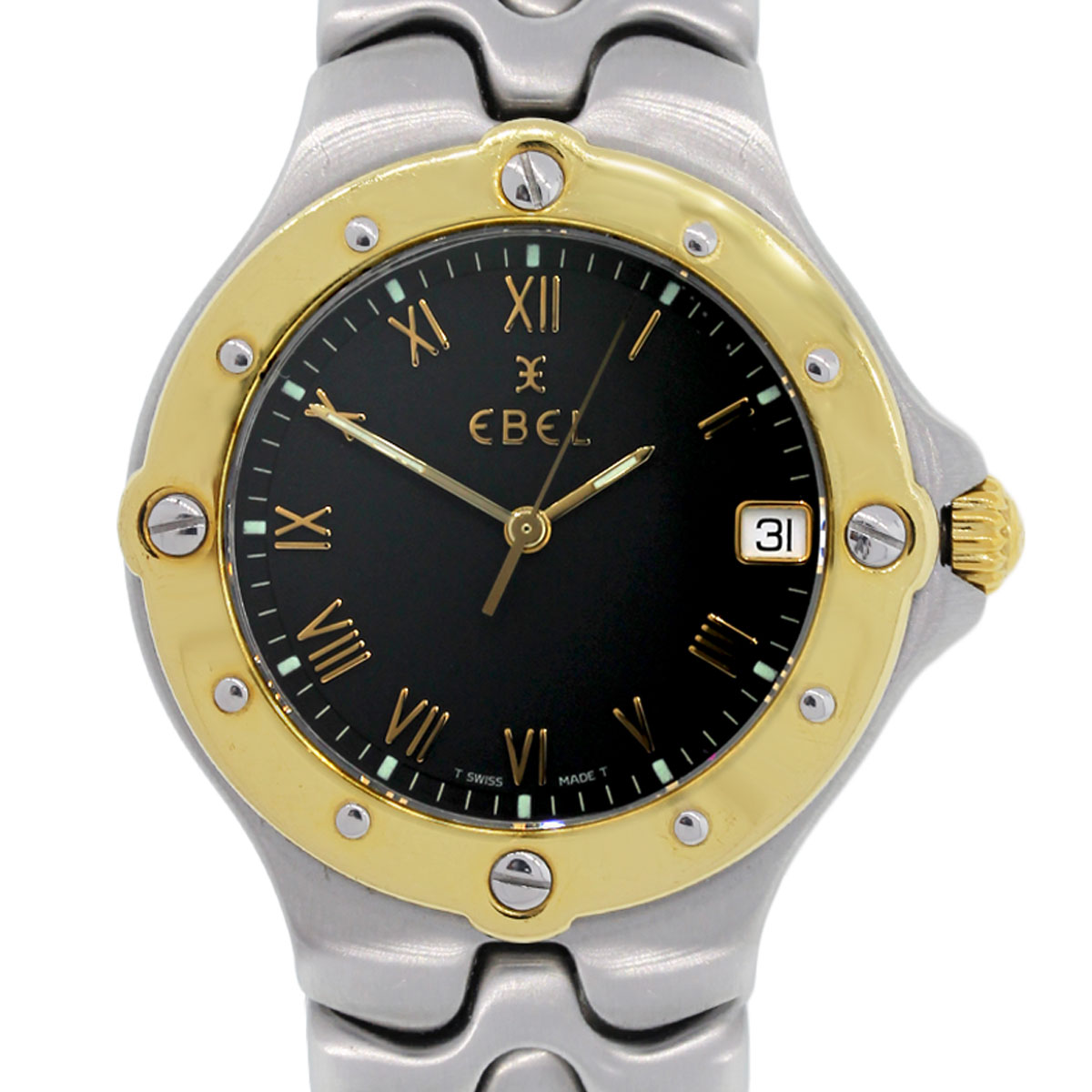 Case Design chanel phone casing Ebel Gents Two Tone Sportwave Black Dial Watch - Raymond Lee Jewelers