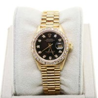 Pre-Owned Rolex 18K Ladies Presidential 69178 Black Diamond Watch