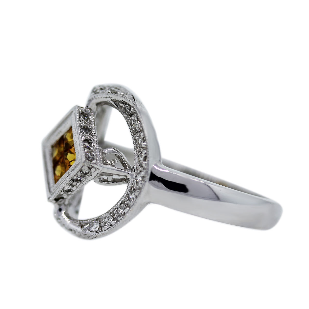 Invisibly Set Yellow Sapphire Ring