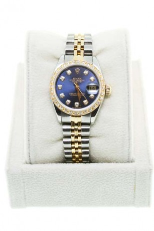 Used Rolex Datejust 69173 Ladies Two Tone Blue Diamond Dial Watch