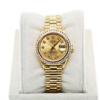 Rolex 18K YG Ladies Presidential 69178 Diamond Bezel Champagne Watch