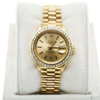 Rolex 18K Ladies Presidential 6917 Champagne Dial Diamond Bezel Watch
