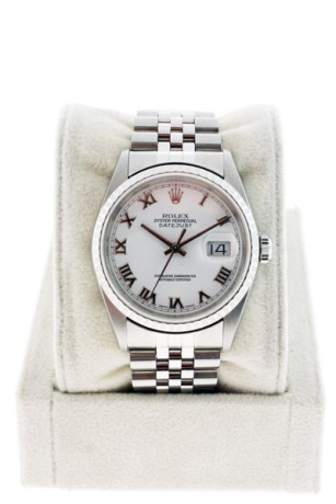 Rolex Datejust 16220 Stainless Steel White Roman Numeral Dial Watch