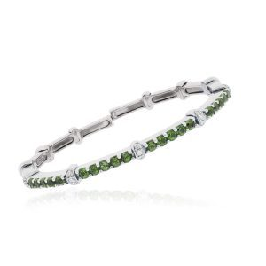 White Gold Diamond Peridot Bangle