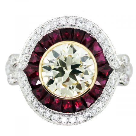 art deco ruby diamond engagement ring