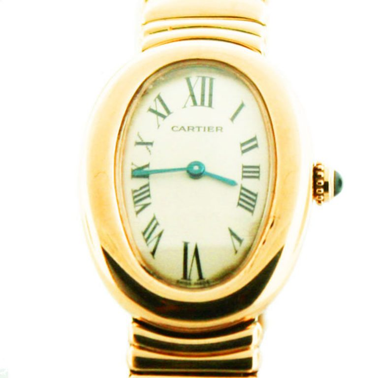 pre owned cartier baignoire w8000008 yellow gold