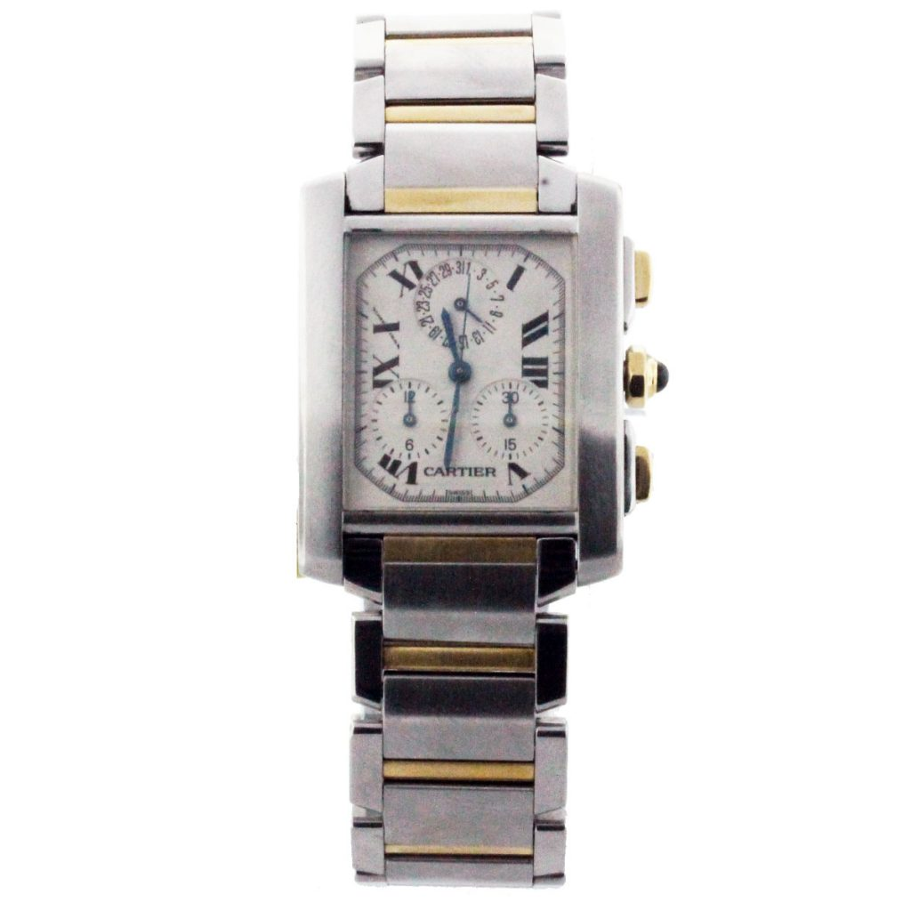 pre owned cartier tank two tone chronoflex mens