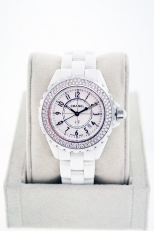 Chanel J-12 H0967 White Ceramic Watch with Pave Diamond Bezel