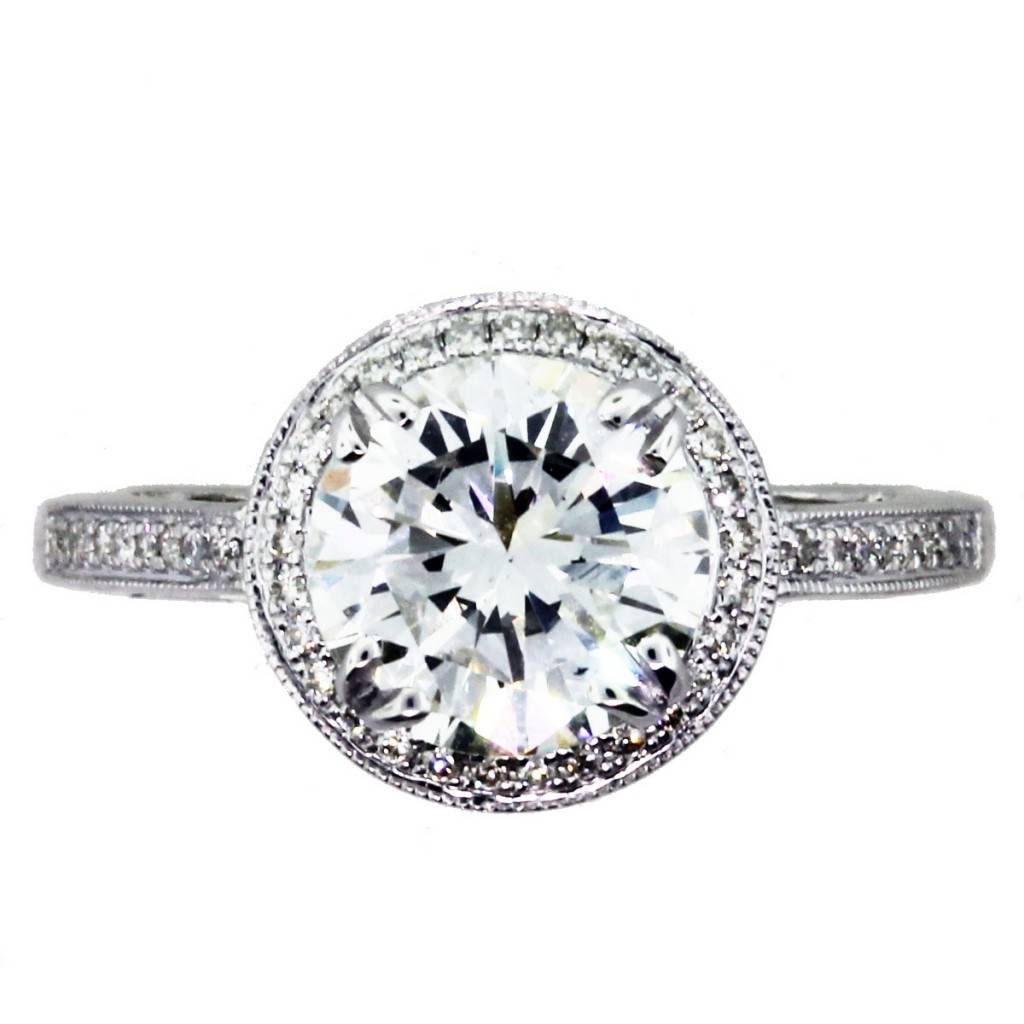 2 Carat Round Diamond Halo Setting Engagement Ring