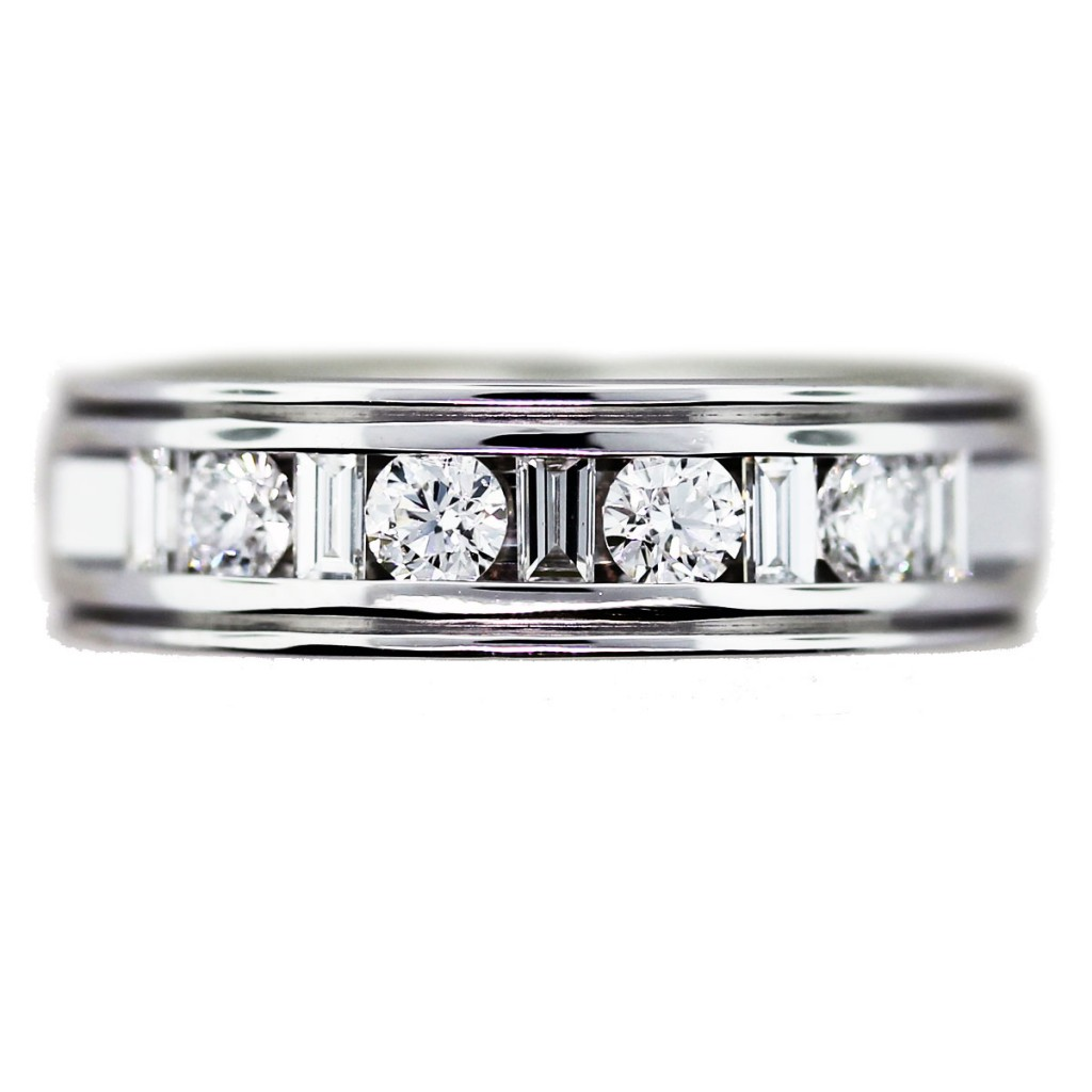 2 carat mens wedding band with round and baguette cut diamonds wedding band with diamonds