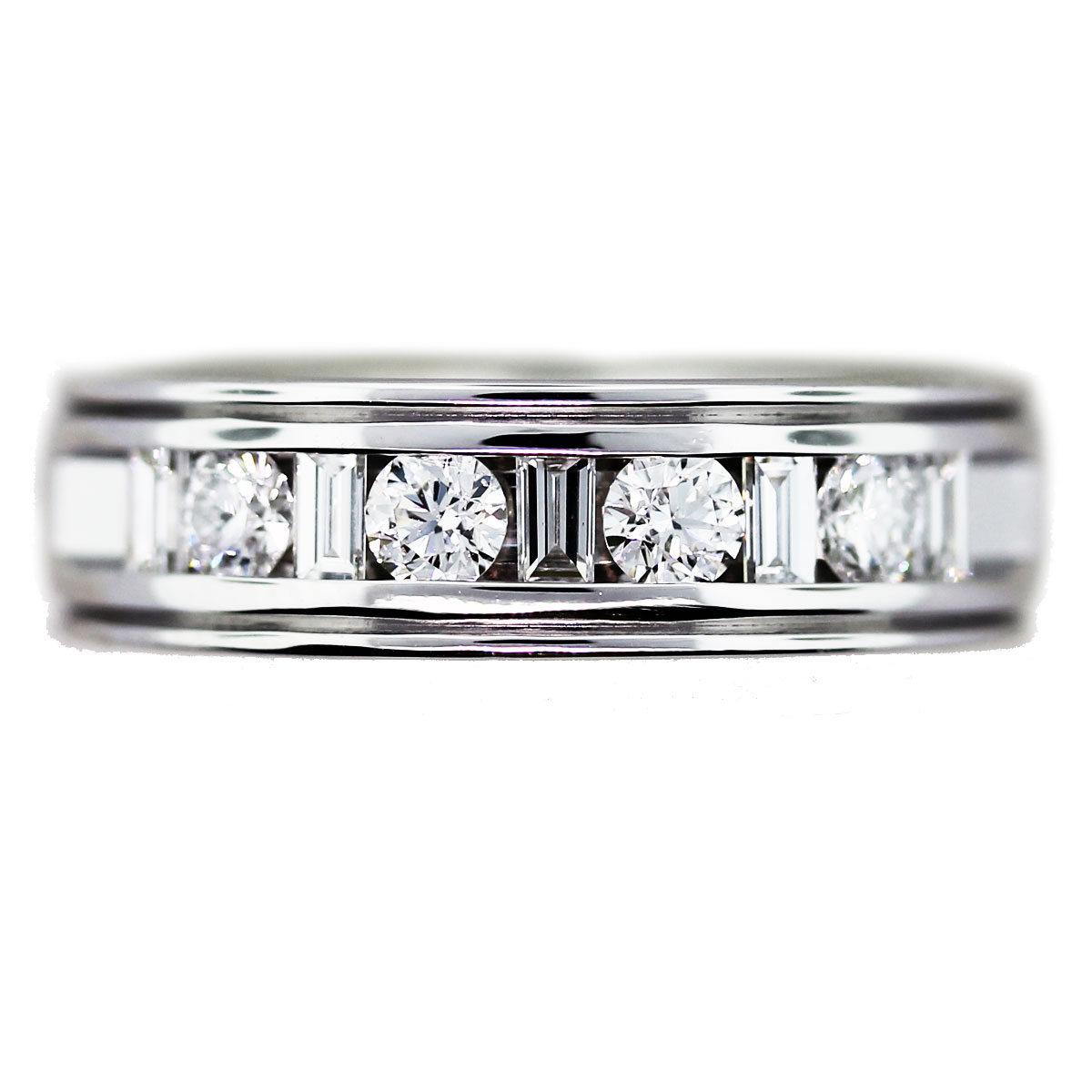 2 carat men39s wedding band with round and baguette cut for Mens wedding rings baguette diamonds