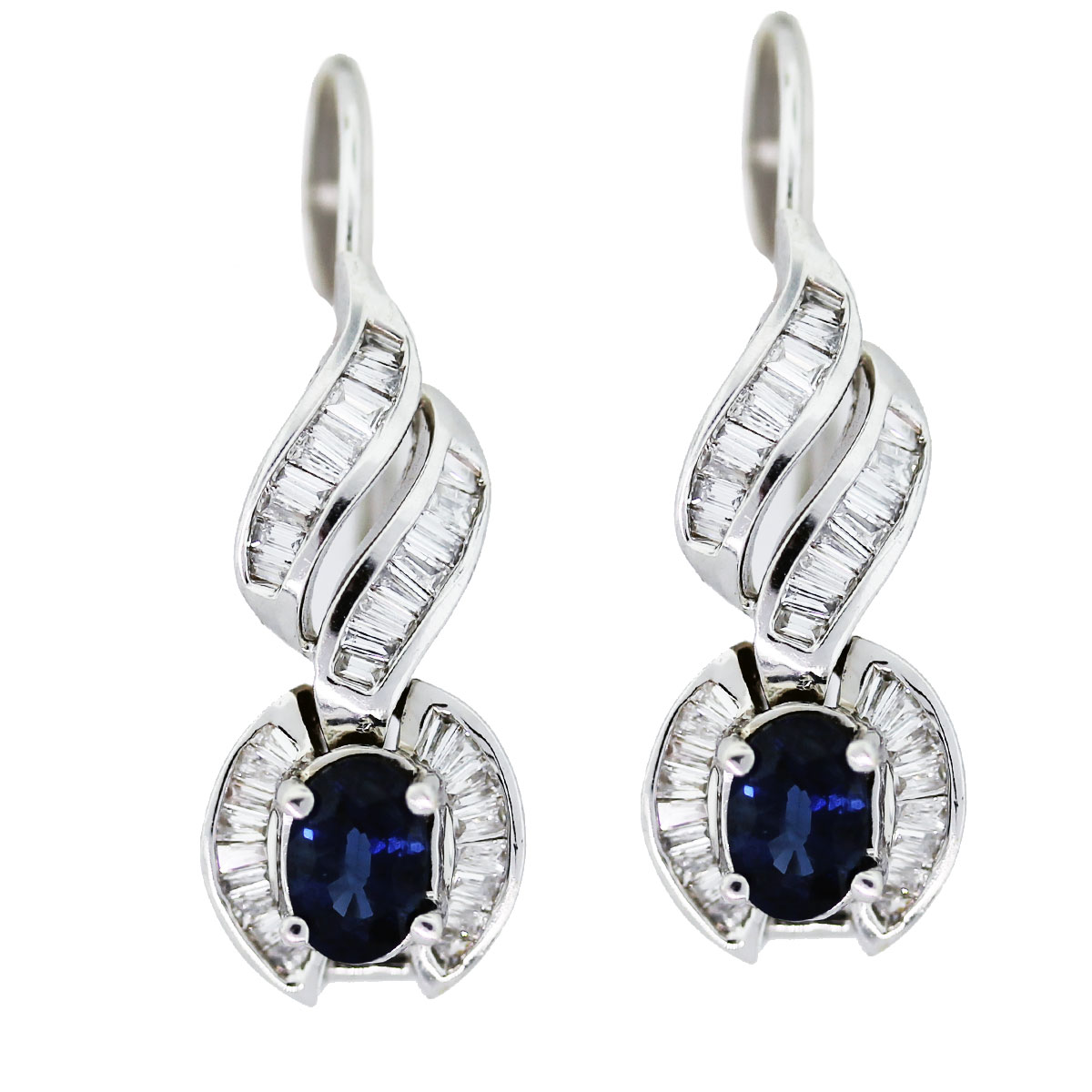 14k white gold sapphire and diamond drop earrings boca raton