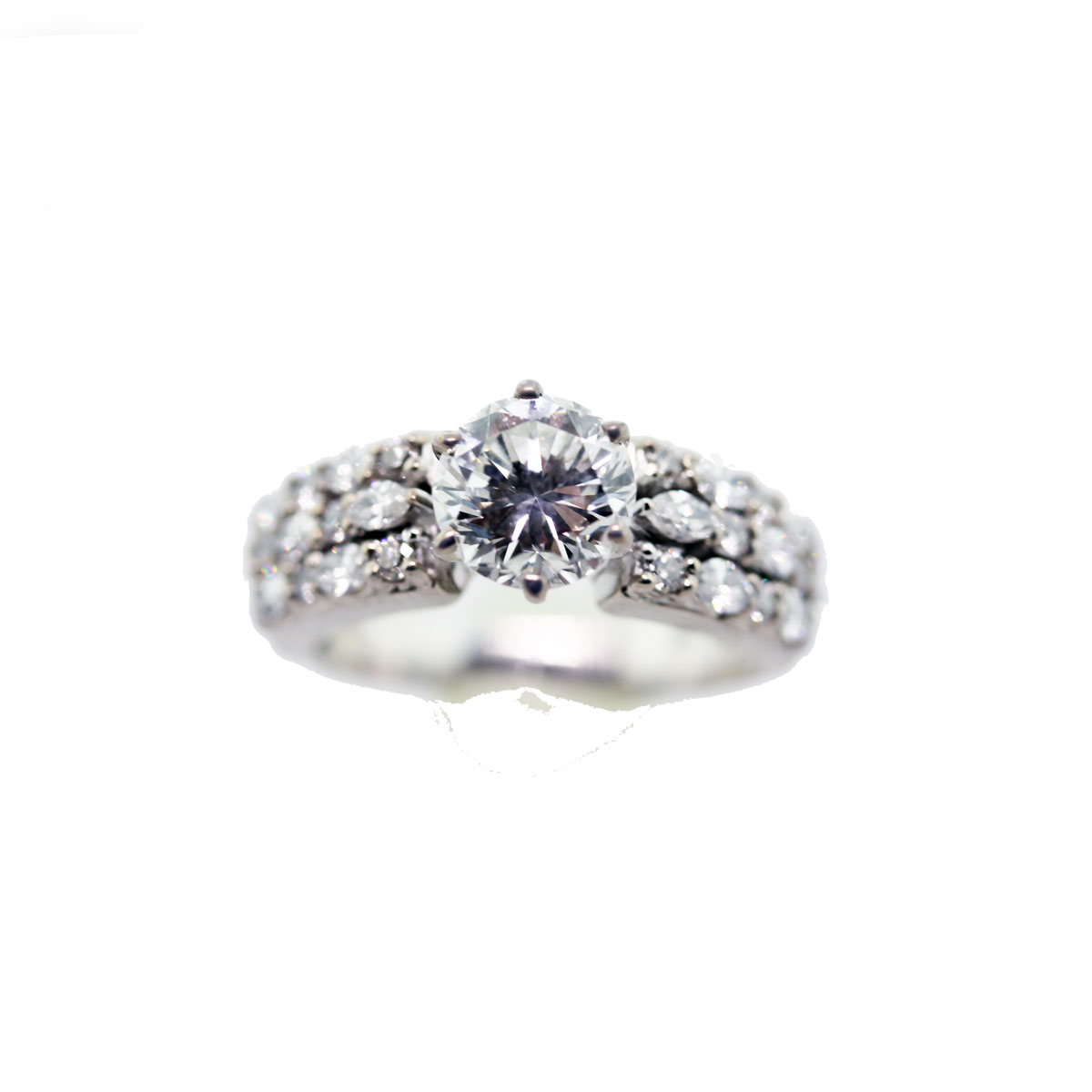 18k white gold engagement ring 1 3ct brilliant cut