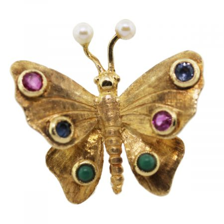 butterfly multi-gemstone pin