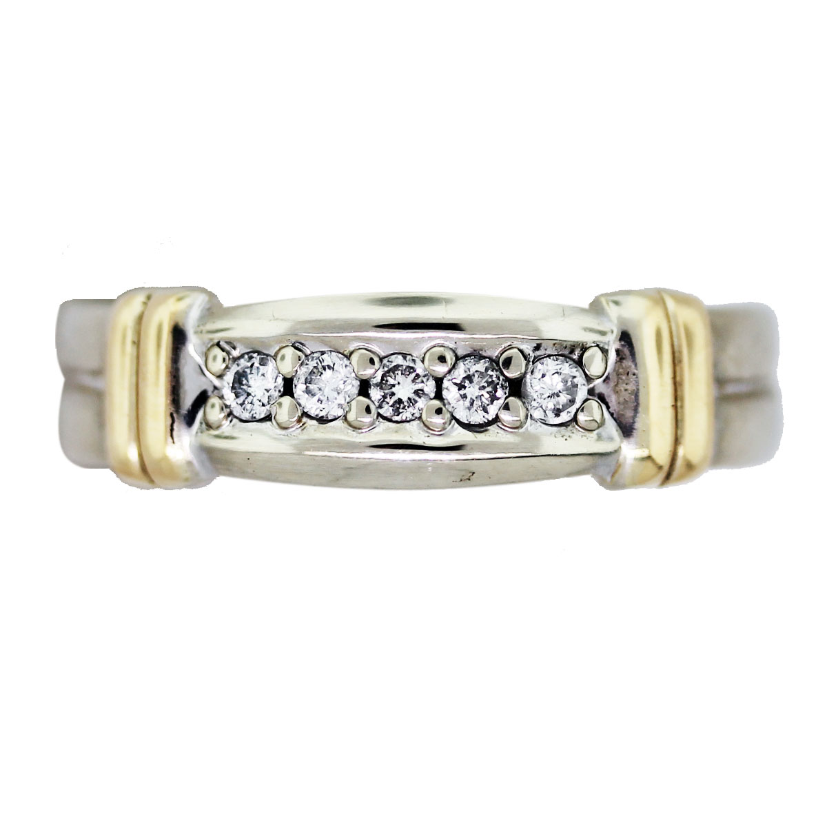 Pre Owned 14K Two Tone Gold And Diamond Mens Wedding Band Raymond Lee Jewelers