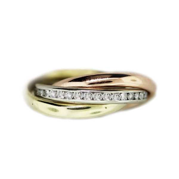 Tricolor Gold And Diamond Rolling Ring Raymond Lee Jewelers