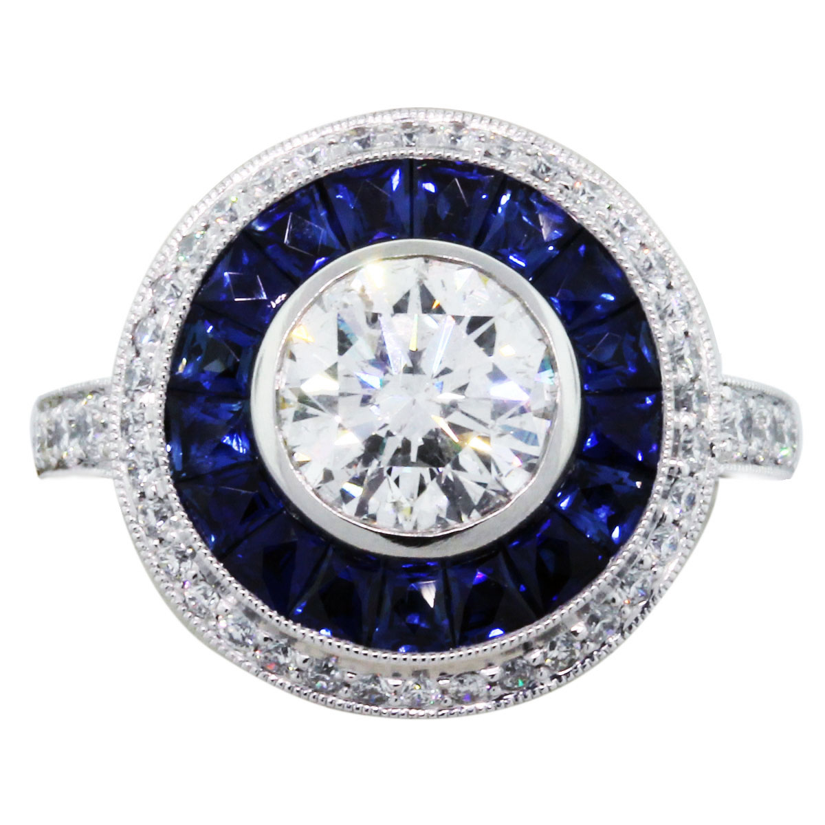 1 50 Ct Round Diamond Halo Style Engagement Ring with Sapphires