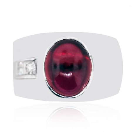 red cabochon mens ring