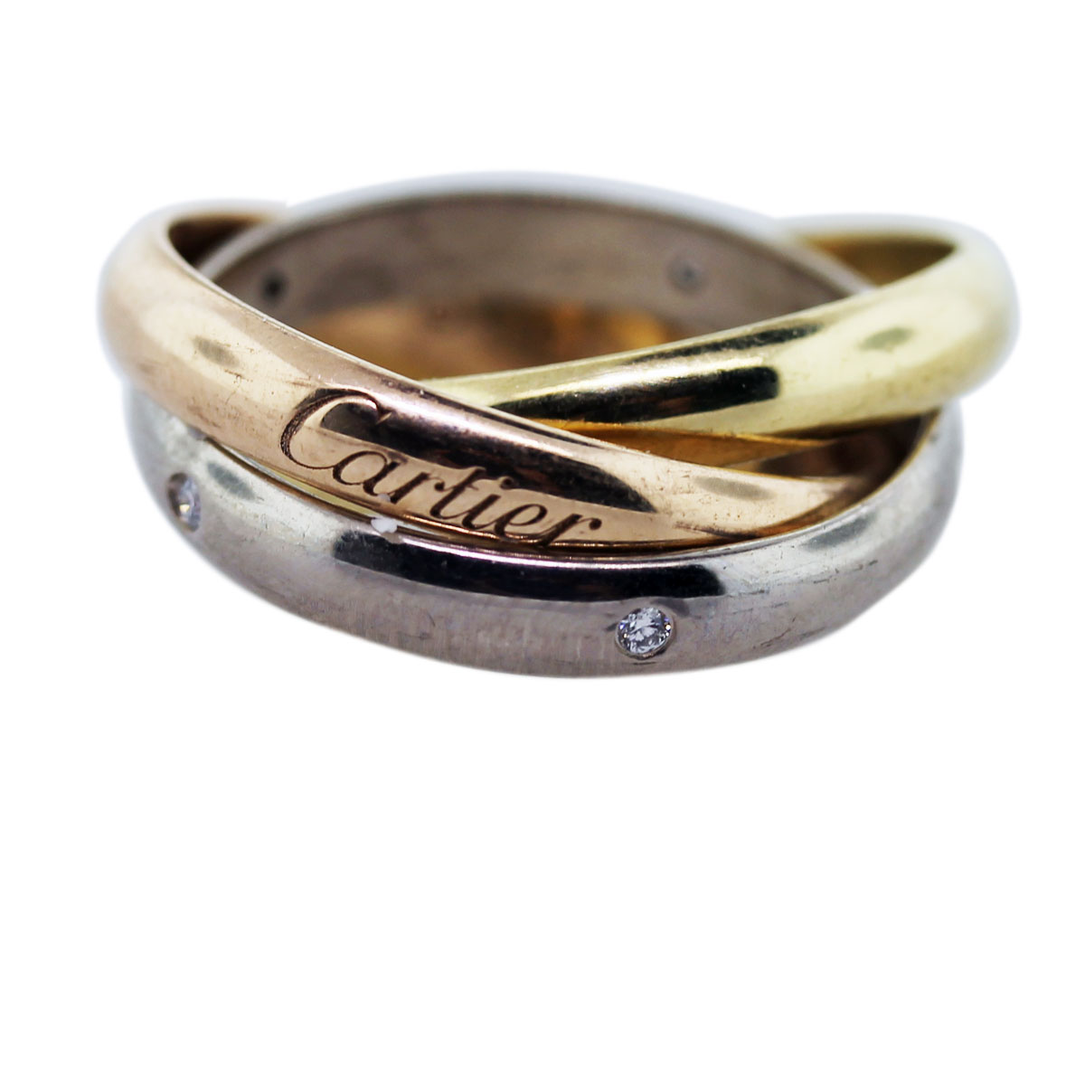 cartier trinity rolling ring with diamonds. Black Bedroom Furniture Sets. Home Design Ideas
