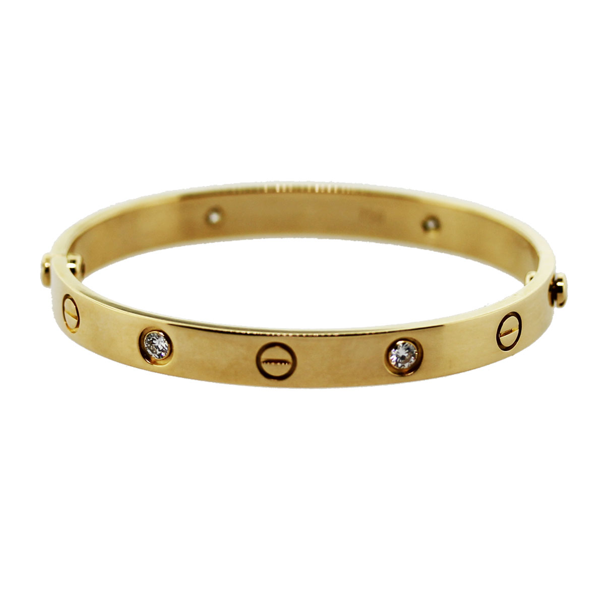 Cartier Yellow Gold Love Bangle Bracelet 4 Diamond Size 16