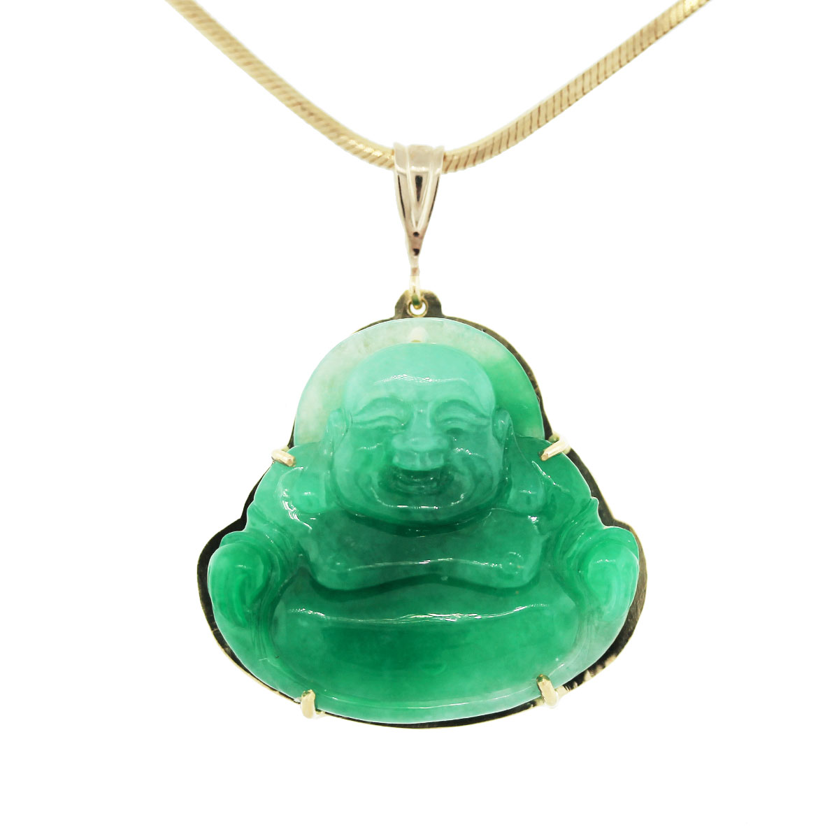 14K Yellow Gold Jade Buddha Pendant Chain Necklace