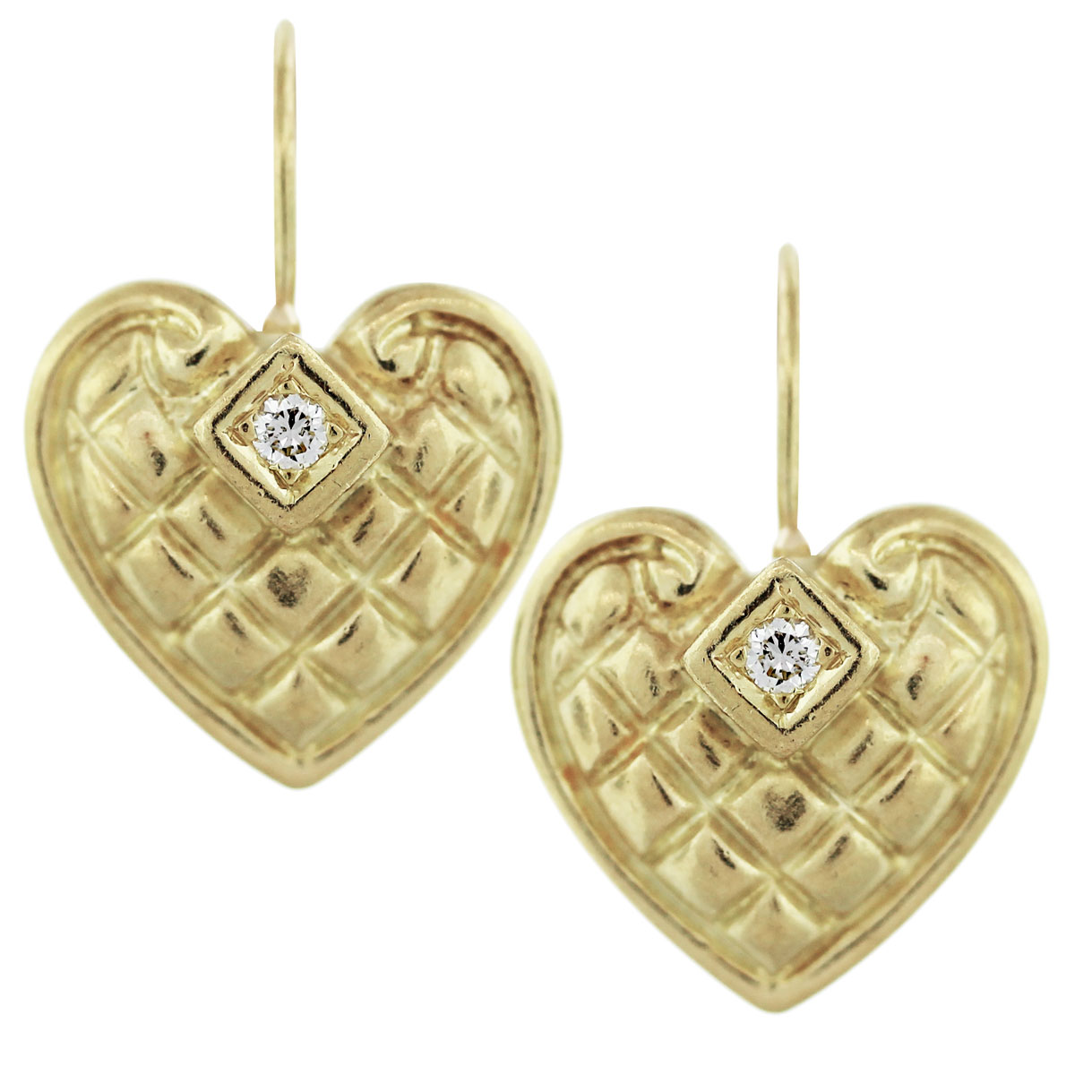 18K yellow gold diamond Quilted earrings
