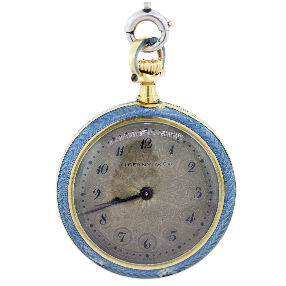Tiffany & Co. Yellow and White Gold and Enamel Vintage Pocket Watch