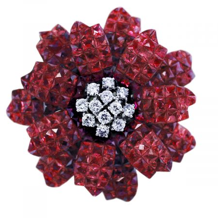 ruby flower pin