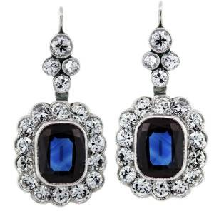 6 Carat Blue Sapphires, Diamonds, and Platinum Dangle Drop Earring, sapphire and diamond earrings