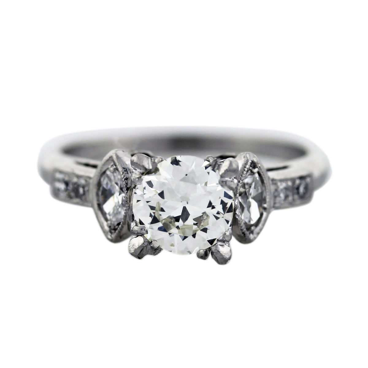 0.88ct European Cut Diamond Antique Platinum Engagement Ring