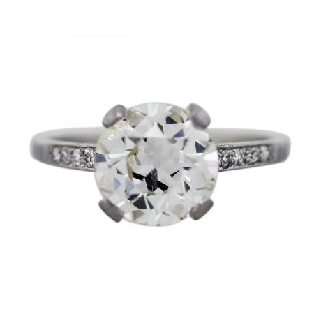 Platinum and European Cut Diamond Engagement Ring