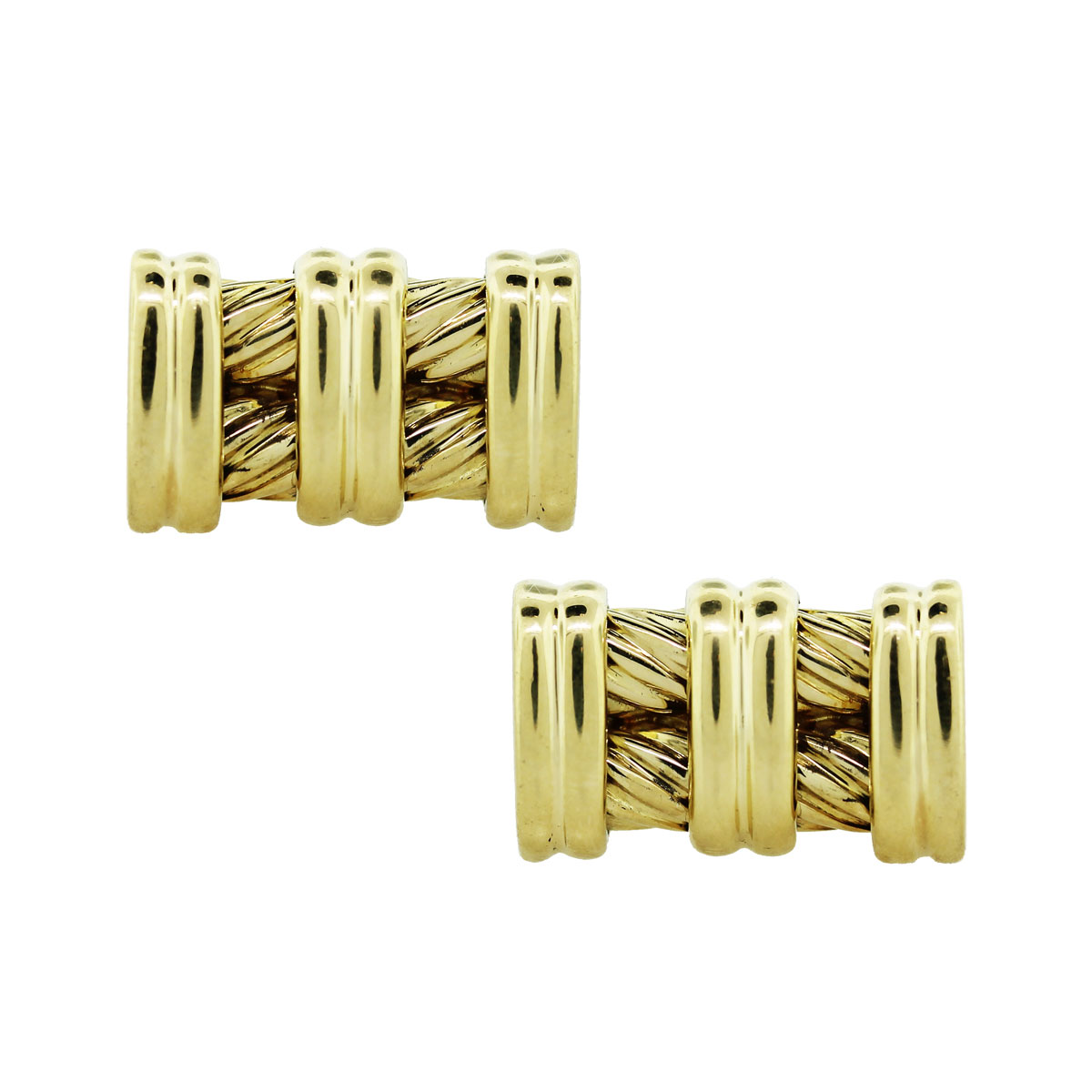 Gold Cable Mens Cufflinks